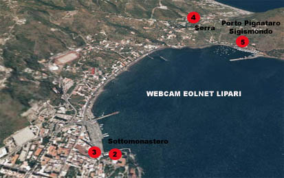 Posizione webcam Eolnet a Lipari Isole Eolie